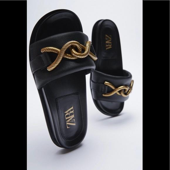 NWT ZARA Metal Buckle Flat sandals